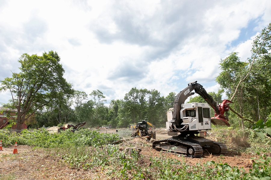 Tree clearing continues on the former Beaton and Corbin site on North Main Street next to the Southington Fire Department Headquarters, Wed., Aug. 12, 2020. A local developer plans a commercial plaza for the property. Dave Zajac, Record-Journal