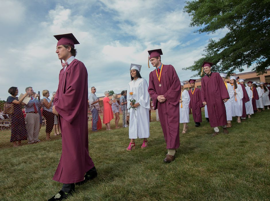 Class of 2018 President Alex Ficorilli leads the academic procession to graduation ceremonies at Sheehan High School on June 22, 2018. Sheehan, Lyman Hall, Cheshire and Southington high schools graduate this week. File photo, Record-Journal