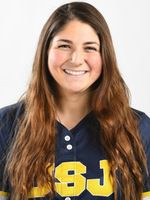 Sophomore right fielder Alessandra Milardo of Plantsville-St. Paul went 2-for-3 with two runs scored for St. Joseph in Sunday's 3-0 victory over Simmons in the Great Northeast Athletic Conference championship softball game. | Photo courtesy of St. Joseph University
