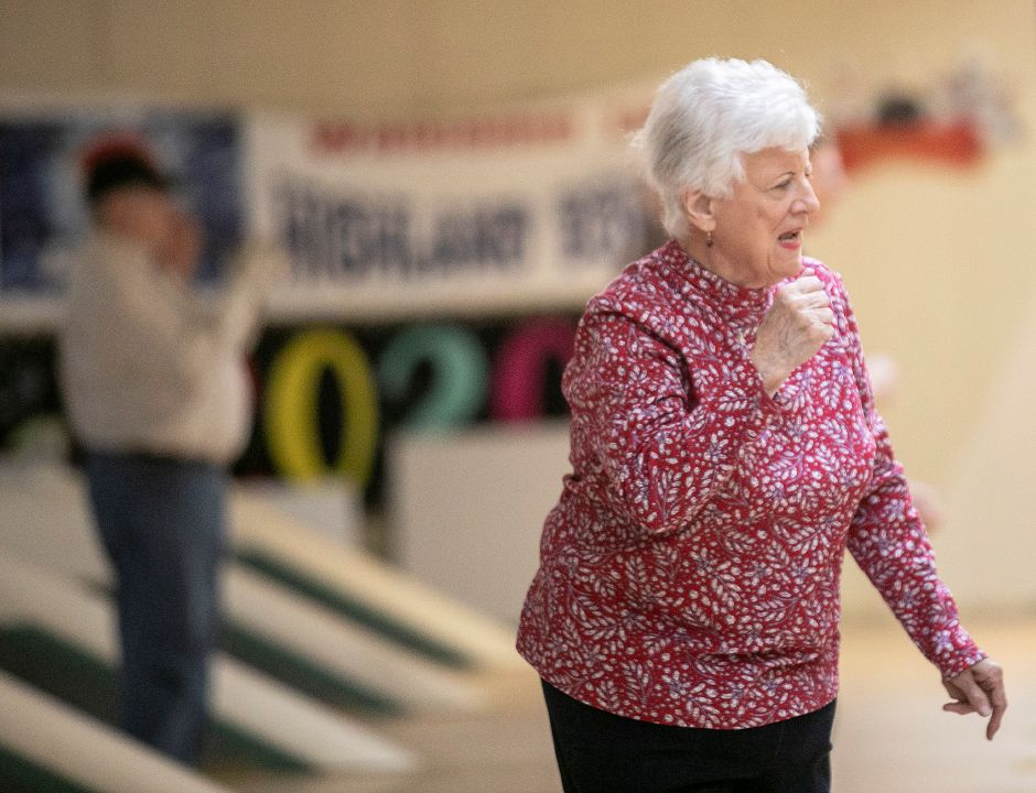 Frances Francesco, of Middletown, gives a fist pump after recording a spare while duckpin bowling with friends at Highland Bowl, 1211 Highland Ave., Cheshire, Tues., Feb. 11, 2020. Dave Zajac, Record-Journal