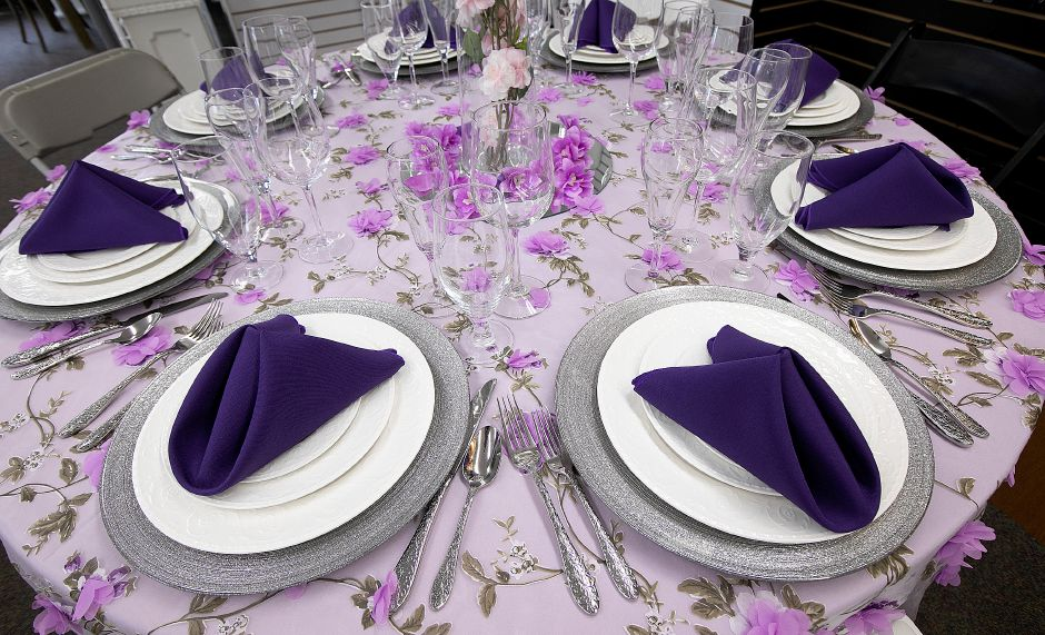 One of a variety of tables and settings available at Durants Party Rentals, 20 Putnam Dr., Cheshire, Thurs., May 2, 2019. Dave Zajac, Record-Journal