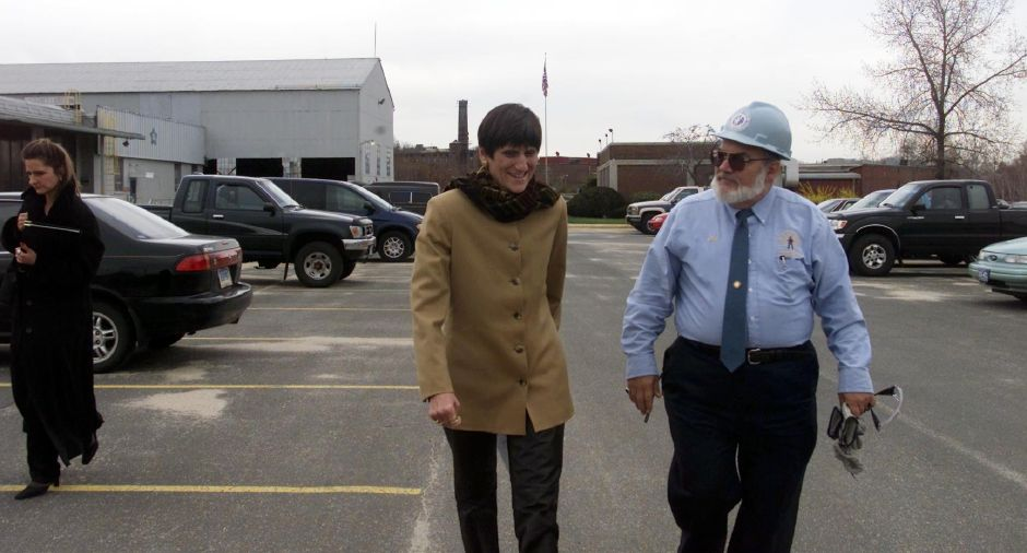 Representative Rosa DeLauro arrives for a tour of the Alleghany Ludlum Wallingford plant on Tuesday April 17, 2001. DeLauro was escorted by Calvin A. Bunnell, the rapid response coordinator of Connecticut for the District number 4 United Steel Workers of America.