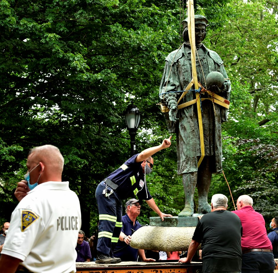 The statue of Christopher Columbus was removed from Wooster Square Park, in New Haven, Conn. Wednesday, June 24, 2020. (Peter Hvizdak/Hearst Connecticut Media via AP)