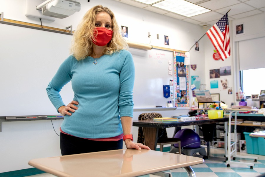 Southington High School social studies teacher Candice Patten in her classroom on Thursday, Jan. 7, 2021. Aaron Flaum, Record-Journal.com