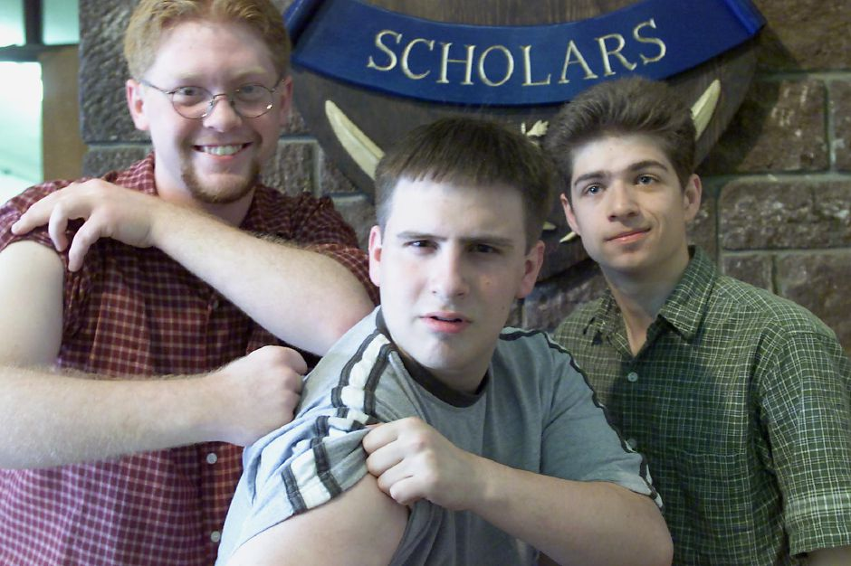 Platt High School valedictorian Roman Testroet (center) with salutorians Chris White (left) and Jesse Caputo (right) have become good friends over the years, June 2000.