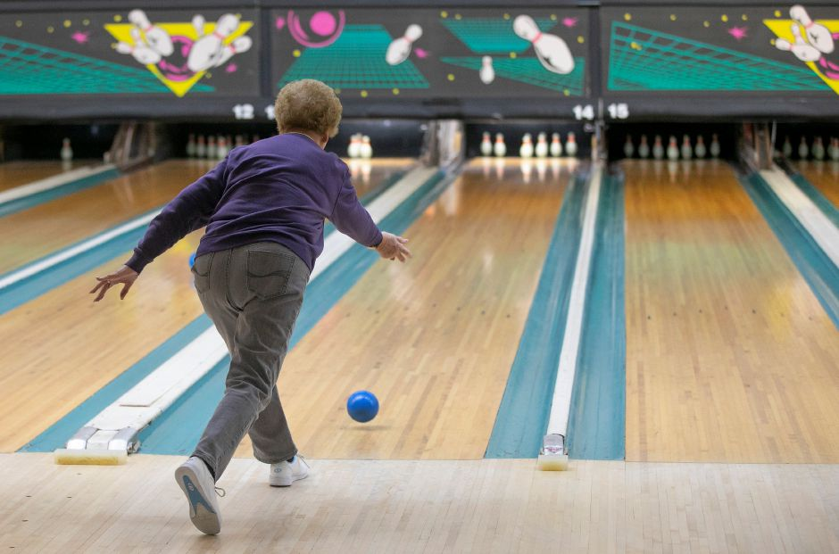 Betty Bengtson, of Middletown, looks to complete the spare while duckpin bowling with friends at Highland Bowl, 1211 Highland Ave., Cheshire, Tues., Feb. 11, 2020. Dave Zajac, Record-Journal