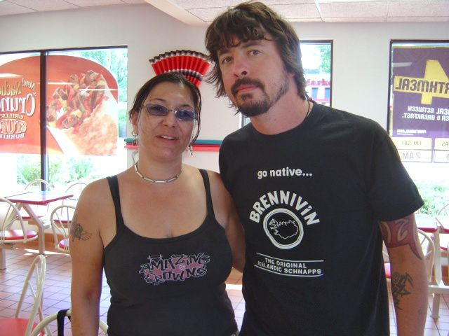 Su Mongillo -Marquis of Meriden ran into Dave Grohl at Taco Bell in Meriden. Grohl is the drummer for Foo Fighters and formerly of Queens of the Stone Age and Nirvana. Photo Courtesy Su Mongillo -Marquis