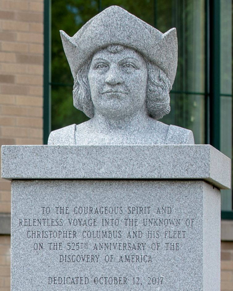 "The Christopher Columbus monument in front of the Town of Southington John Weichsel Municipal Center, Thurs., Jun. 18, 2020. The inscription on the monument reads ""To the courageous spirit and relentless voyage into the unknown of Christopher Columbus and his fleet on the 525th anniversary of the discovery of America dedicated October 12, 2017."" Dave Zajac, Record-Journal"