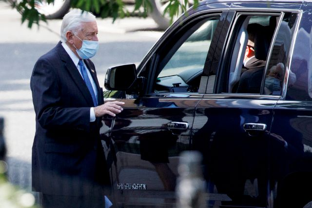 House Majority Leader Steny Hoyer of Md. leaves an intelligence briefing on reports of a Russian operation to pay Afghan militants targeting U.S. troops in Afghanistan, at the White House, Tuesday, June 30, 2020, in Washington. (AP Photo/Evan Vucci)