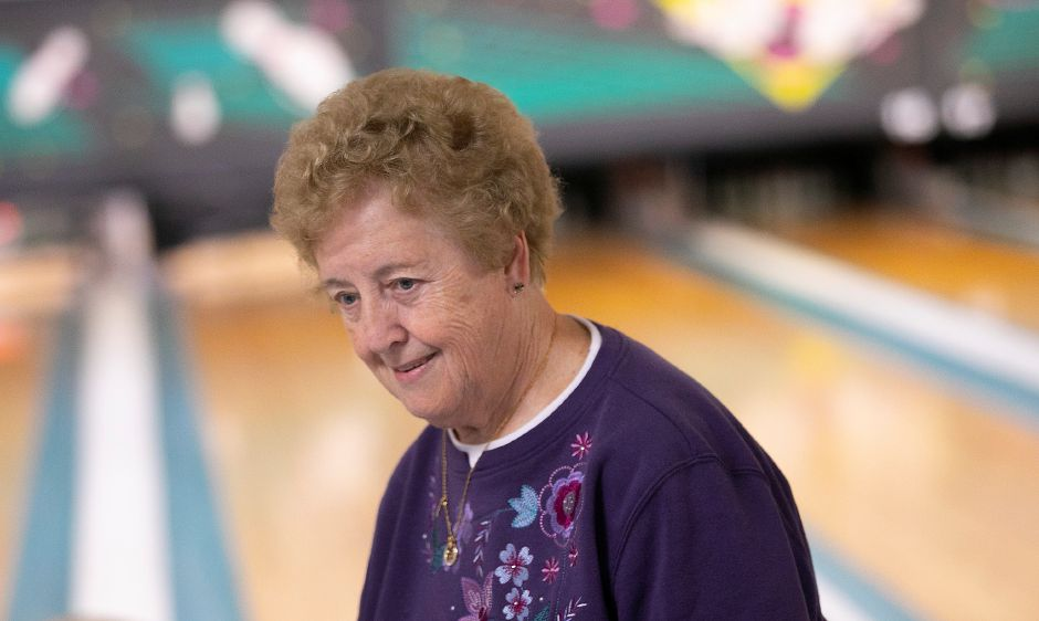 Betty Bengtson, of Middletown, smiles after rolling a strike while duckpin bowling with friends at Highland Bowl, 1211 Highland Ave., Cheshire, Tues., Feb. 11, 2020. Dave Zajac, Record-Journal