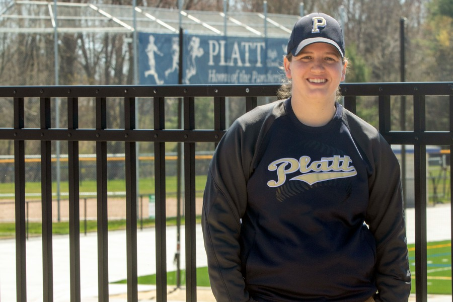 Platt High School's new softball coach Jennifer Duell with the softball field in the background on Monday, April 6, 2020. Aaron Flaum, Record-Journal
