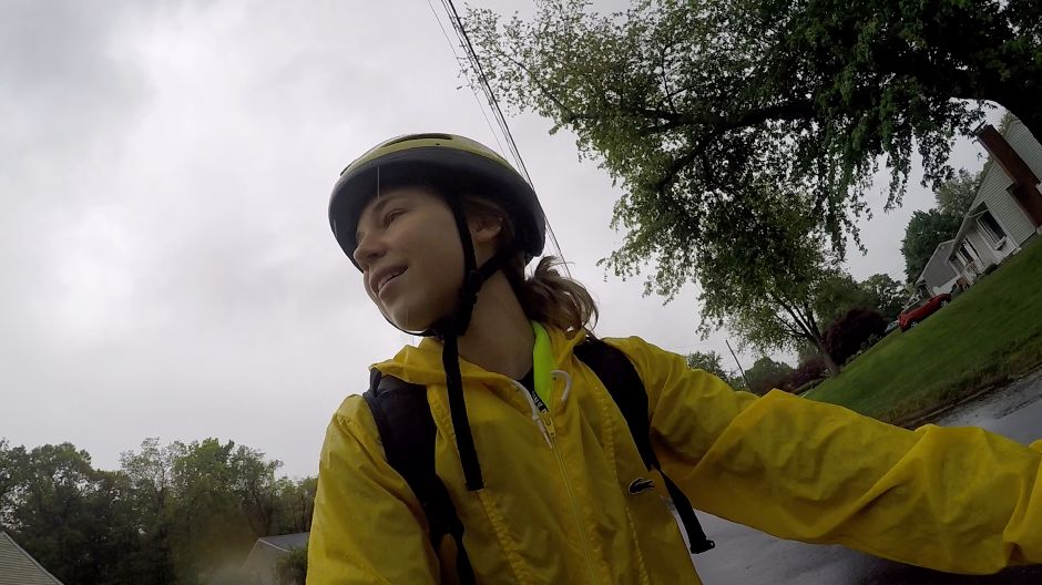 Kristen Dearborn rides her bike in the rain with a fully stocked backpack and a contingency plan for if conditions become unsafe. Kristen Dearborn, special to Record-Journal
