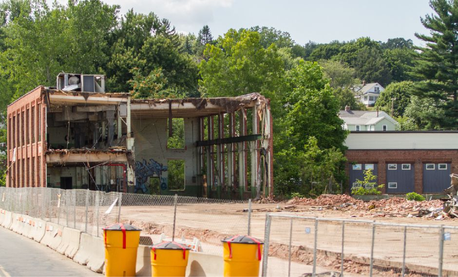 FILE PHOTO: A remaining piece of the former Ideal Forging building in Southington, July 23, 2015. Demolition continues at the site. | Eric Vo / Record-Journal