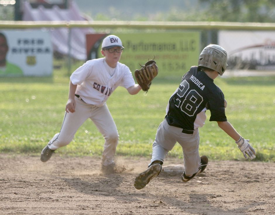 South Meriden's Carter Modica steals second base before Ed Walsh shortstop Blake Benigni can make the tag during Wednesday's Meriden City Series game at Habershon Field. Aaron Flaum, Record-Journal Staff