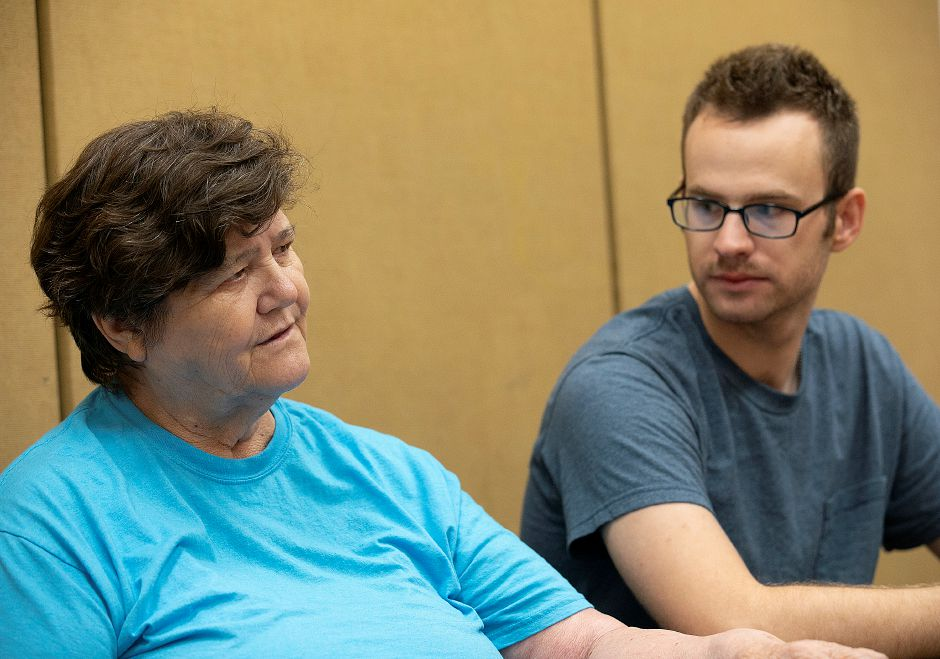 Margaret Frost talks next to grandson Arthur during an interview at the Meriden Public Library, Thurs., Aug. 15, 2019. Dave Zajac, Record-Journal