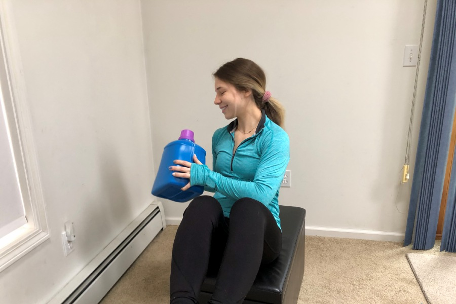 Kristen Dearborn uses household items for fitness. |Kristen Dearborn, Special to Record-Journal