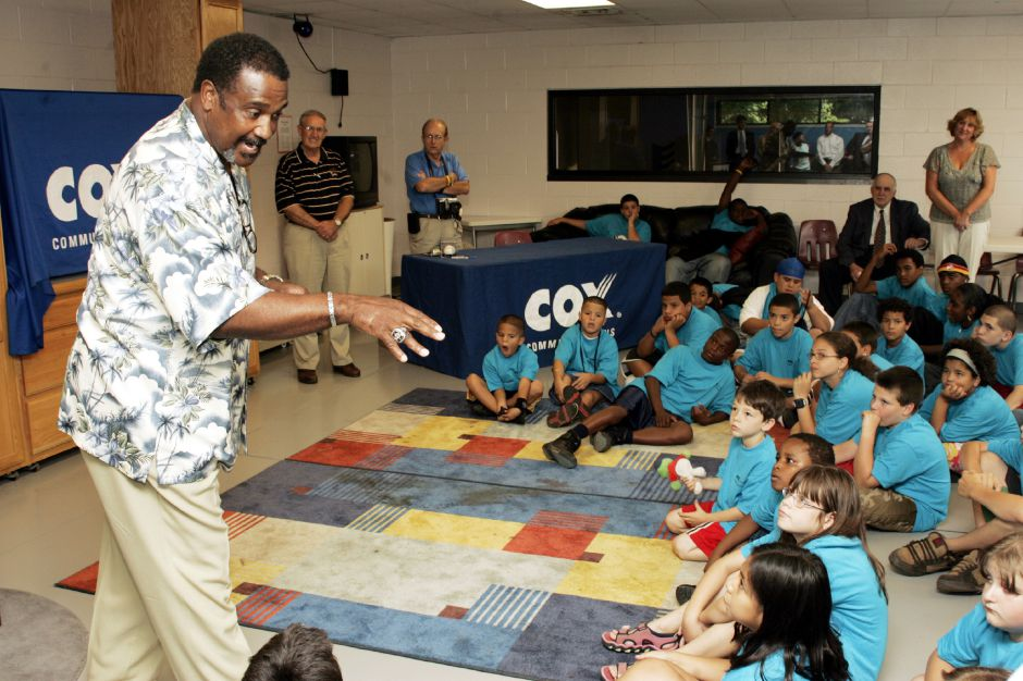 Former Red Sox star Jim Rice talks to kids at the Meriden Boys and Girls Club Tues. afternoon, Aug. 2, 2005, as he was on hand to donate an HDTV to the club from Cox Communications and NESN.