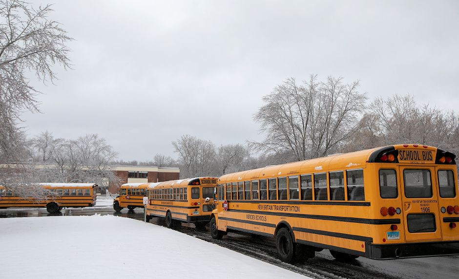 Buses line up before dismissal at Thomas Hooker Elementary School in Meriden, Mon., Dec. 2, 2019. Dave Zajac, Record-Journal