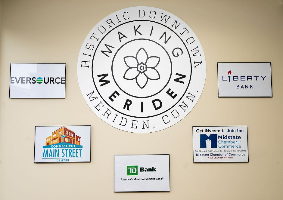 The Making Meriden symbol seen on the walls of the new Making Meriden business center at 5 Colony St., Monday, March 5, 2018. Dave Zajac, Record-Journal