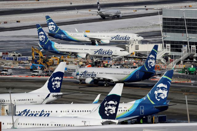 FILE - In this Feb. 5, 2019, file photo, Alaska Airlines planes are parked at a gate area at Seattle-Tacoma International Airport in Seattle. Alaska Airlines said over 300 employees among the company