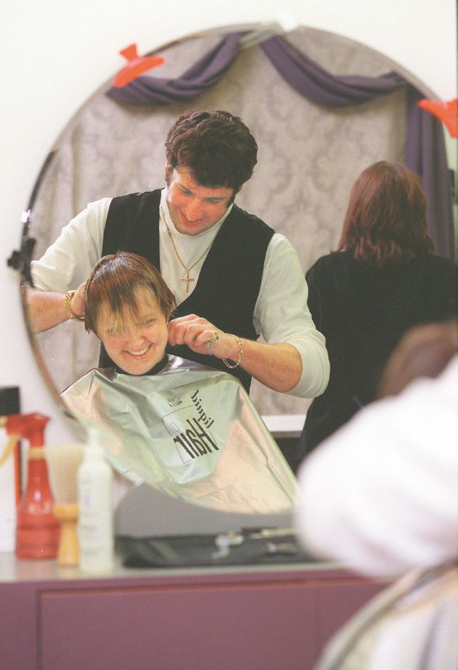 RJ file photo - Hairstylist Travis Knotts with client Ellen Stagaj at Travis