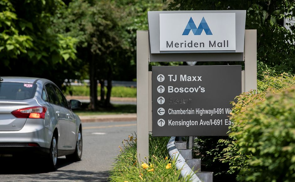 New signage for the newly named Meriden Mall is seen here near the west entrance on July 2.