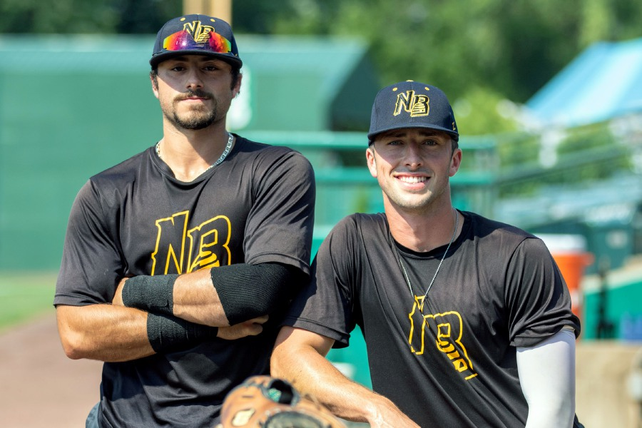 After losing junior collegiate season to the coronavirus pandemic, Wallingford natives Mike Caruso (left) and Kyle Brennan are summer teammates on the New Britain Bees in the Futures Collegiate Baseball League. Aaron Flaum, Record-Journal
