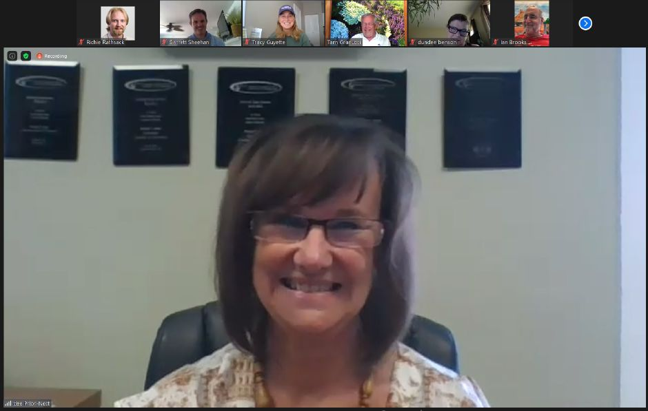 Dee Prior Nesti smiles  as Quinnipiac Chamber of Commerce members gather for a virtual retirement party on Thursday.