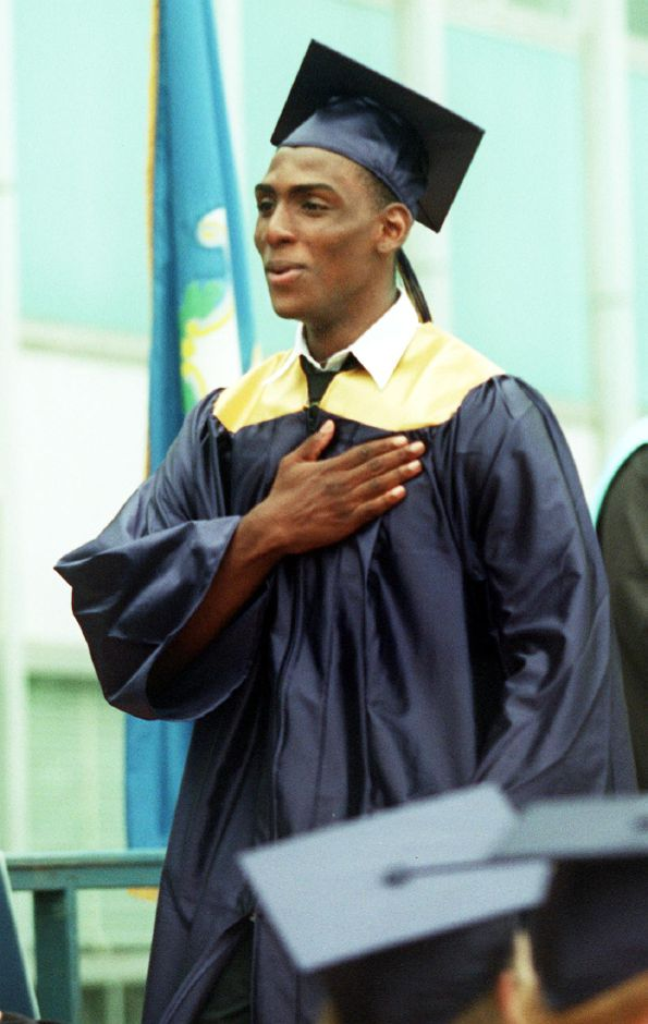 Larry Donnell Blake breathes a sigh of relief after he received his diploma at Platt graduation Thurs., June 15, 2000.