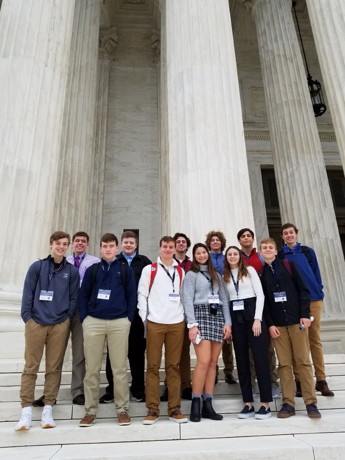 Berlin High School sophomores in the U.S. Government and Politics AP course are pictured at the Supreme Court building in Washington D.C. The trip was organized by the Close UP Foundation, which has united more than 900,000 students and teachers to engage in civil discourse.