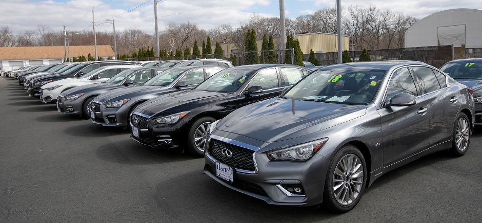 Cars for sale at Harte Infiniti, 1076 S. Colony Rd., Wallingford, Tues., Mar. 31, 2020. Dave Zajac, Record-Journal