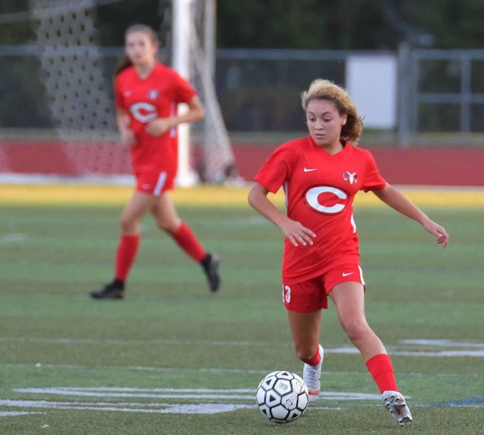 Gabby Tirado scored 14 goals in her freshman season for a Cheshire team that went 14-4-1. Seven of her goals were game-winners. Tirado was eventually named All-SCC First Team and All-State Class LL. Photo courtesy of Sandra Pellegrino