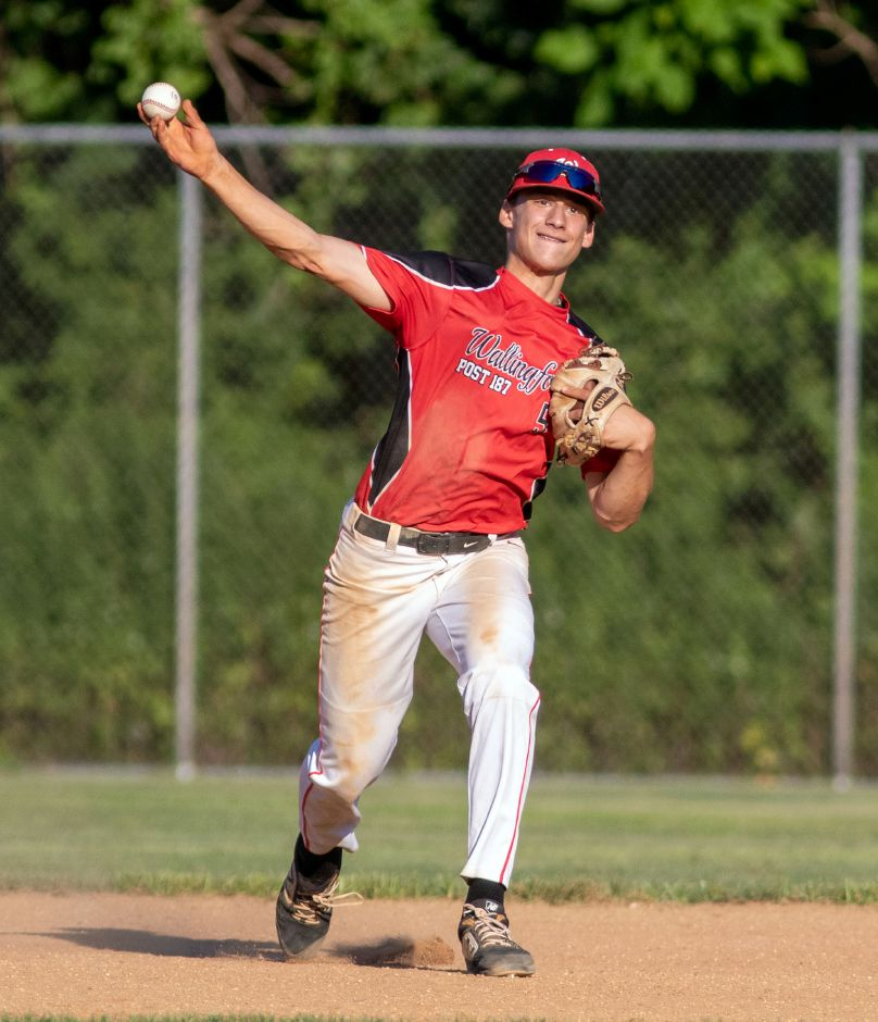 Justin Hackett threw seven scoreless innings in Wallingford's 6-0 victory over Madison on Monday night in a CT Elite Baseball Association Division 2 play-in tournament game at Madison Town Campus. Aaron Flaum, Record-Journal
