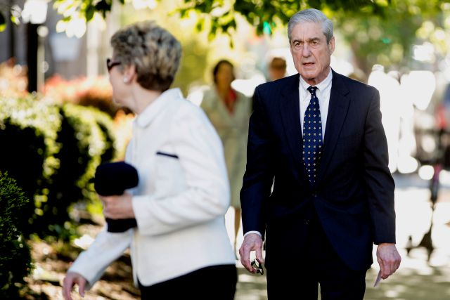 FILE - In this April 21, 2019, file photo, special counsel Robert Mueller and his wife Ann Cabell Standish, left, arrive for Easter services at St. John