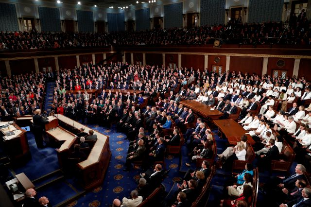 President Donald Trump delivers his State of the Union address to a joint session of Congress on Capitol Hill in Washington, Tuesday, Feb. 5, 2019. (AP Photo/J. Scott Applewhite)
