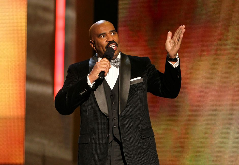 Host Steve Harvey performs onstage at the 44th Annual NAACP Image Awards at the Shrine Auditorium in Los Angeles on Friday, Feb. 1, 2013. (Photo by Matt Sayles/Invision/AP)