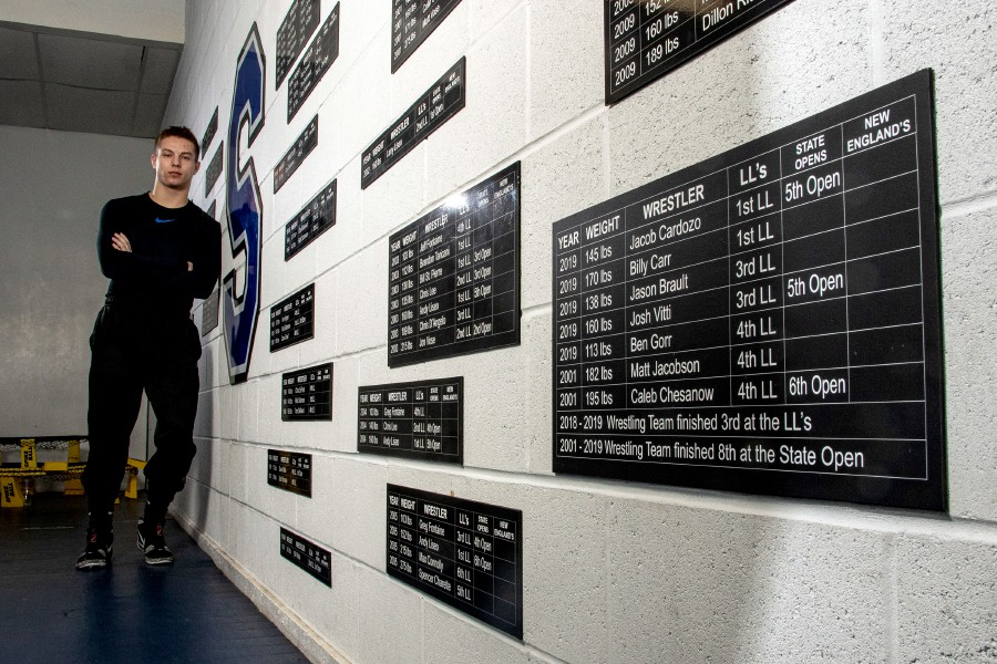 Billy Carr put his name on Southington's championship wrestling board for a second time when he won the Class LL title last weekend at 182 pounds. (Carr won Class LL at 170 pounds last year.) This weekend, the senior will be looking at his first placement in the State Open. Aaron Flaum, Record-Journal