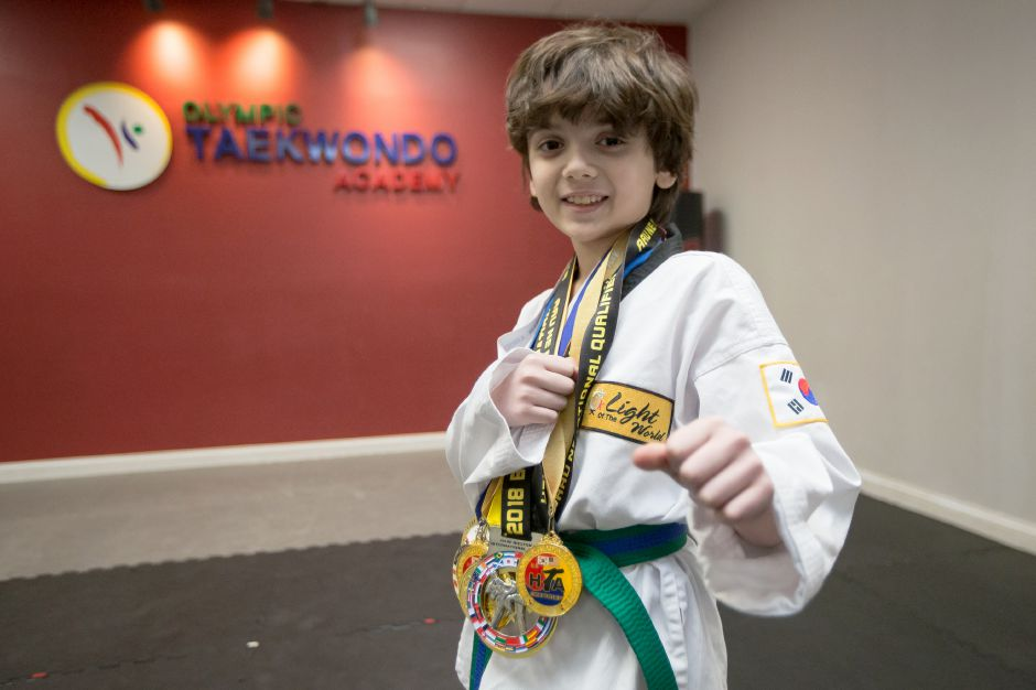 Lorenzo Pragano 8 of Meriden has won first place in 11 of 14 tournaments he has sparred in Wednesday at Olympic Taekwondo Academy in Southington January 2, 2019 | Justin Weekes / Special to the Record-Journal