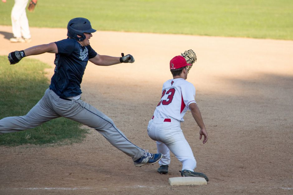 Is it a stretch to say American Legion baseball teams, their season canceled on Tuesday, will be able to find alternative avenues to play? That all depends if and when the state gives the green light to recreation. For now, here's a blast from the summer of 2019, with Wallingford first baseman Anthony Romano taking a throw in time to punch out Branford