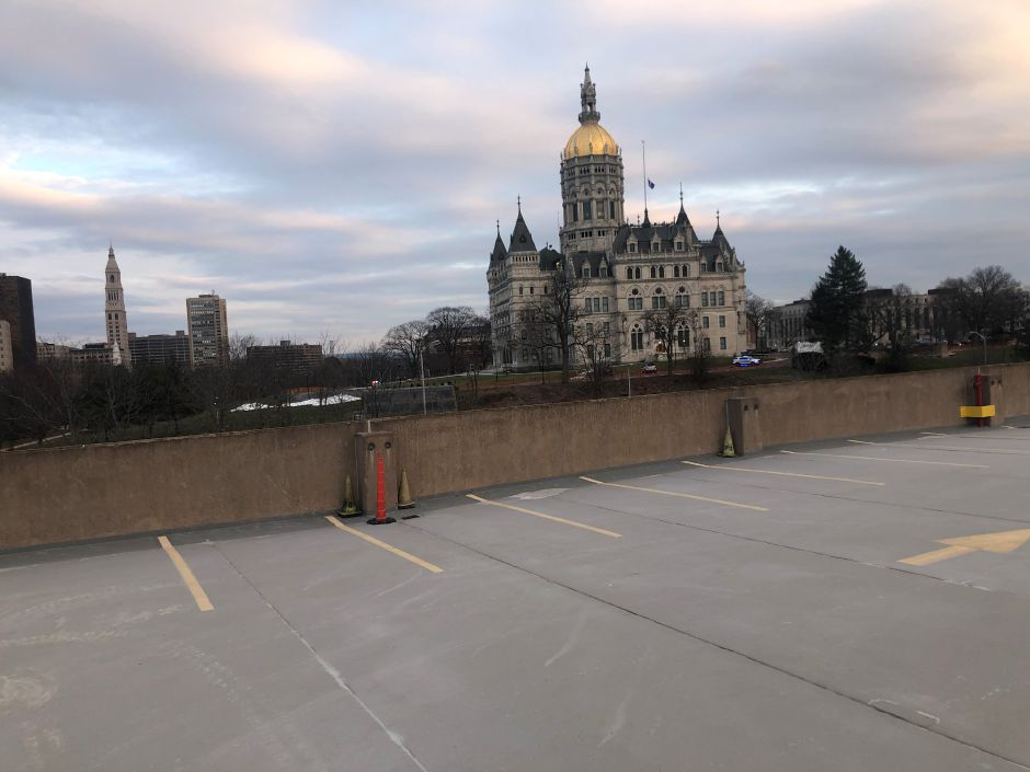 View of the Connecticut state Capitol from a media staging area that will be secured by state police. Photo courtesy of Connecticut State Police