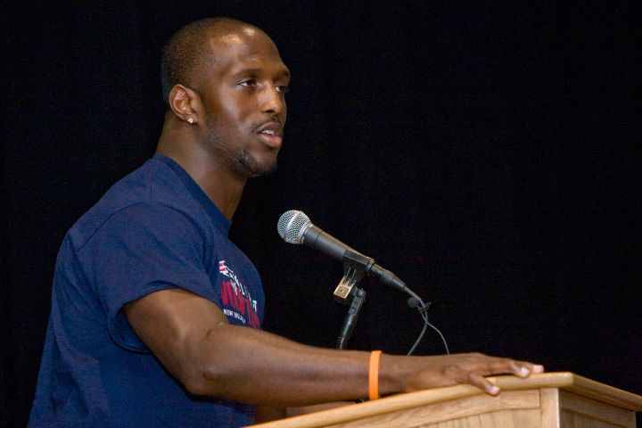 New England Patriots safety and Super Bowl champion, Devin McCourty, speaks to students and staff during a visit promoting health and nutrition at Washington Middle School in Meriden, Wednesday, April 29, 2015. | Dave Zajac / Record-Journal