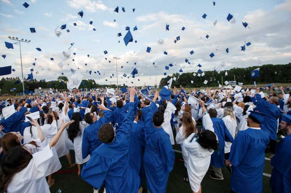 Members of Southington High School's class of 2018 seen throowing their caps into the air in this Record-Journal file photo. | Justin Weekes / Special to the Record-Journal