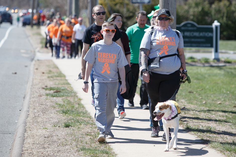 "Left: Jared O'Sullivan, 13, left, Lauren Vignola, and ""Dexter,"" a 3-year-old Jack Russell-pointer mix, lead the Teresa's Warriors group in 2018 during the Walk MS fundraiser to help fight multiple sclerosis at Cheshire High School in Cheshire. Right: Participants pass under the balloon finish line in 2011. File photos, Record-Journal"