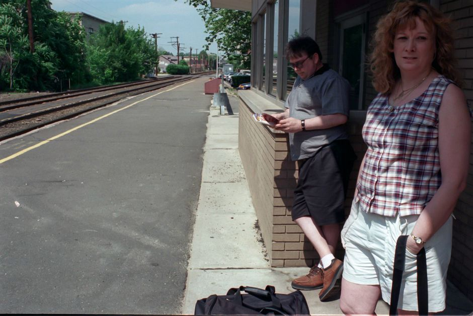 "Don and Christine Schmitt, of Meriden, wait for the 3:24P train to New York City to attend a filming tomorrow for ""Curtis Court"" June 21, 2000. The Schmitt"