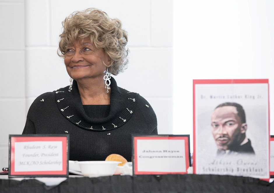 Rhudean Raye smiles during the 35th annual Martin Luther King, Jr. Albert Owens Scholarship Breakfast at Maloney High School in Meriden, Mon., Jan. 20, 2020. | Dave Zajac, Record-Journal