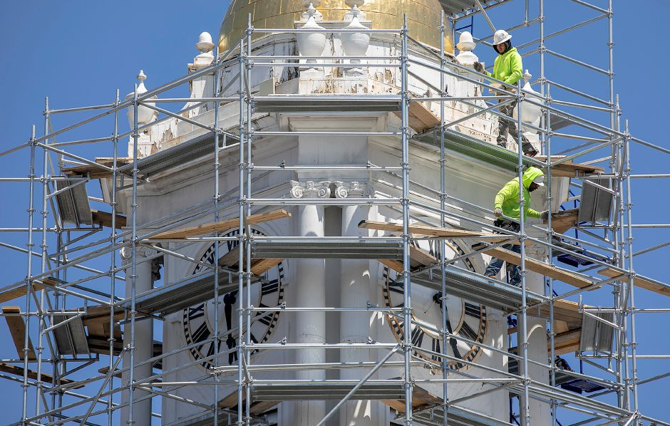 Workers from Enterprise Scaffolding, Inc., set up scaffolding for the clock tower renovation project underway at Meriden City Hall, Wed., May 13, 2020. Dave Zajac, Record-Journal