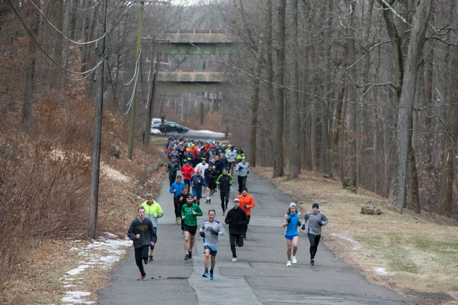 Runners start to spread out from the start Sunday during the 50th annual Bernie Jurale Memorial Tradition Run at Hubbard Park in Meriden January 27, 2019 | Justin Weekes / Special to the Record-Journal