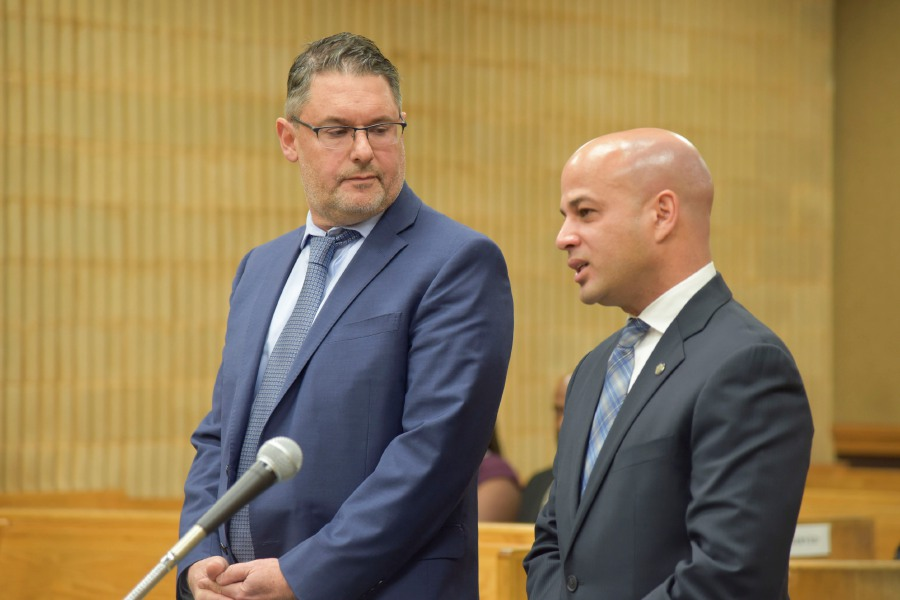 Attorney Robert Berke, left, stands next to Miguel Castro, right, now a former Meriden city councilor, during a court appearance at Milford Superior Court on Nov. 15, 2019. Berke is suing the Judicial Branch over continued court closures. Matthew Zabierek, Record-Journal