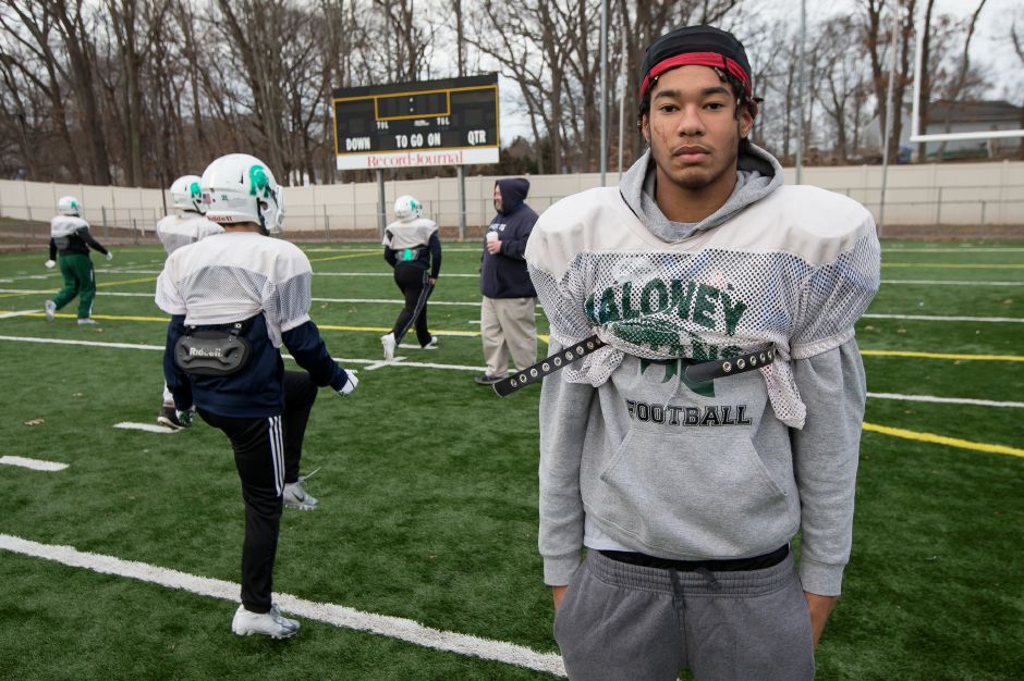 Jaylon-Devine William Nixon, a standout athlete at Maloney,  was killed in a car crash on Research Parkway early Sunday. File photo, Record-Journal