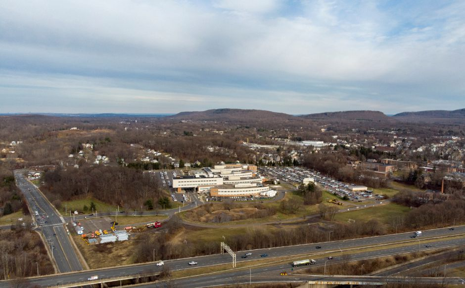 Looking north towards Midstate Medical Center in Meriden across Interstate 691 Jan. 7, 2020. | Richie Rathsack, Record-Journal